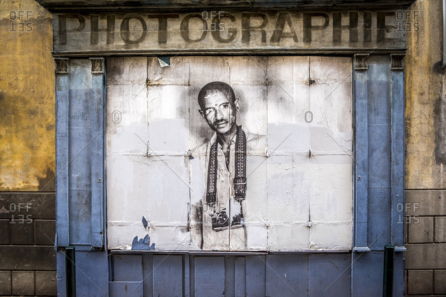 Toulouse, France - September 15, 2016: Abandoned photography store in downtown Toulouse