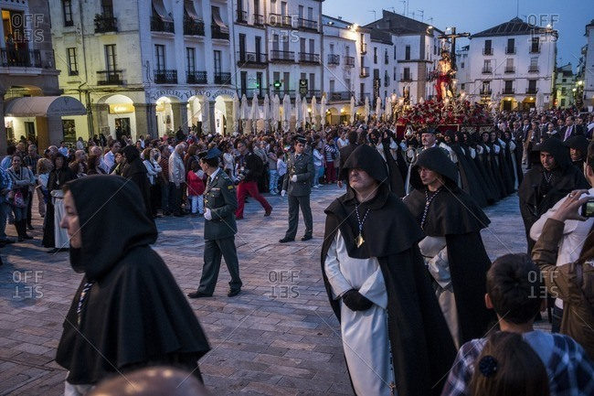 Caceres, Spain - April 12, 2014: Religious ceremony in Caceres during Holy Week in Spain