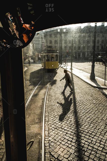 Lisbon, Portugal - April 17, 2014: Street tram in Lisbon, Portugal