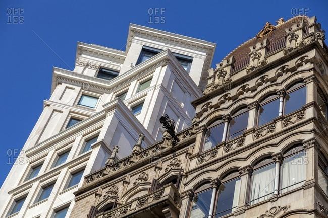 Modernism and contemporary buildings in Paseo de Gracia Avenue in Barcelona, Catalonia, Spain