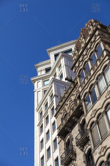Modernism and contemporary architecture in Paseo de Gracia Avenue in Barcelona, Catalonia, Spain