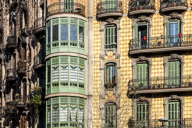 Barcelona, Spain - March 14, 2012: Modernism building in Eixample district in Barcelona, Catalonia, Spain