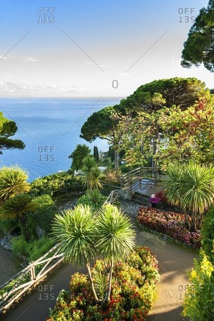 Ravello, Italy - October 8, 2013: Garden overlooking Mediterranean, Italy