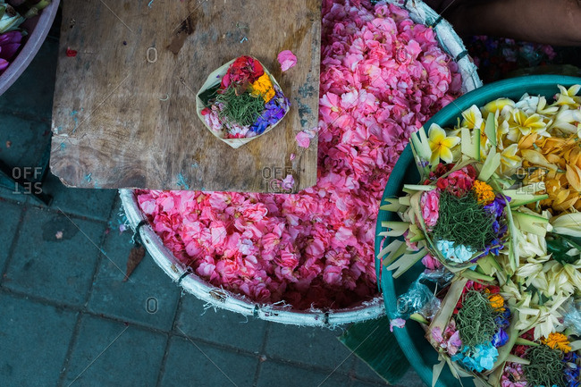 Flower offerings in a traditional market in Sanur, Bali, Indonesia