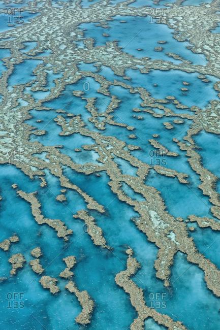 Aerial view of coral reefs, Great Barrier Reef, Australia