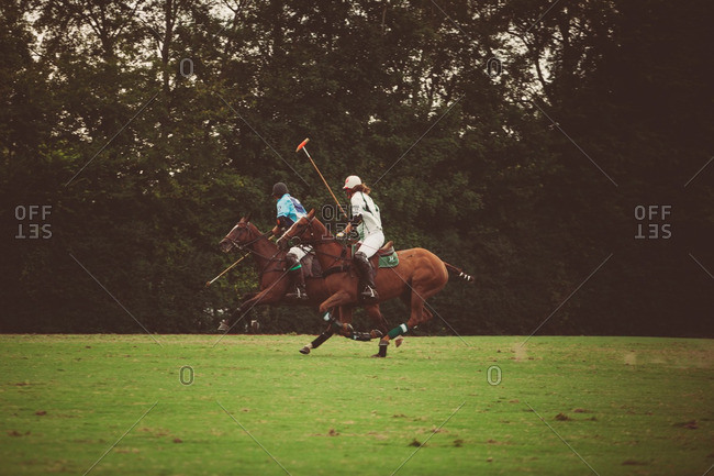 September 18, 2016: Polo players on horses during a match
