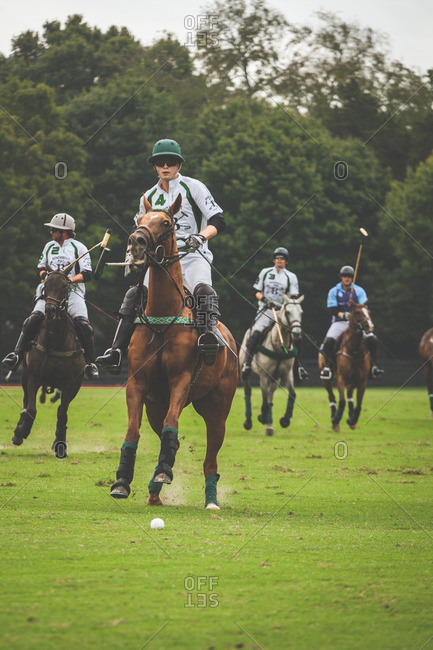 September 18, 2016: Two polo teams on a field during a match