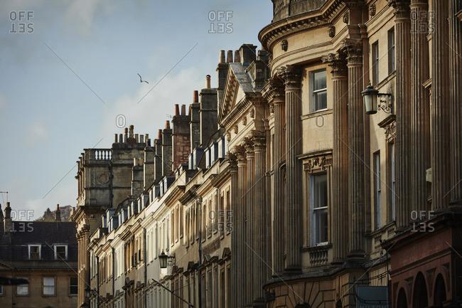 Bath, England - May 2, 2016: Row of buildings in Bath, England