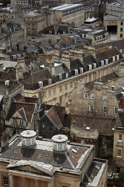 Bath, England - May 3, 2016: Aerial view of buildings in Bath, England