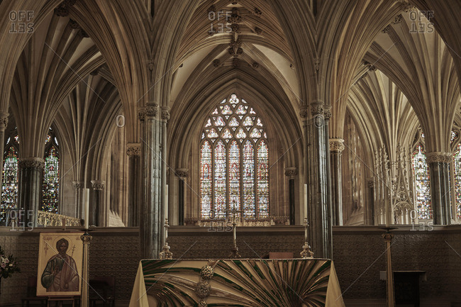 Wells, England - May 5, 2016: Interior and altar of the Wells Cathedral in Wells, Somerset, England