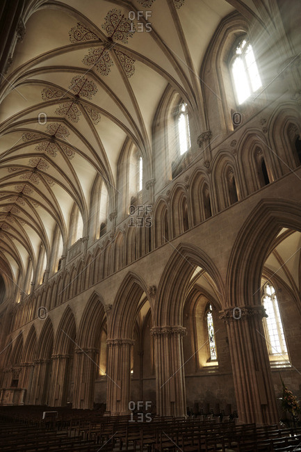 Wells, England - May 5, 2016: Interior of the Wells Cathedral in Wells, Somerset, England