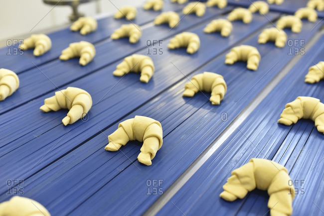 Production line in a baking factory with croissants