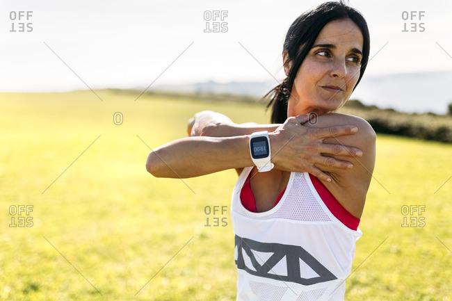 Woman preparing for training