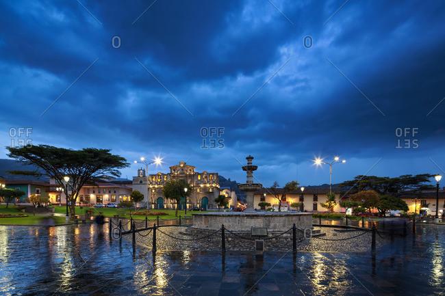 Peru, Cajamarca, Skyline with Catedral de Cajamarca