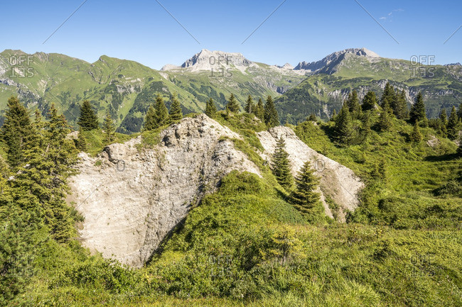 Austria, Vorarlberg, Lechtal Alps, Gipsloecher nature reserve, Grubenalpe