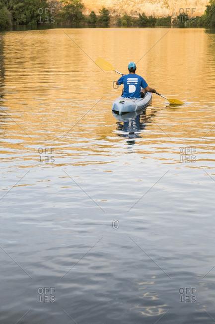 Spain, Segovia, Man in a canoe in Las Hoces del Rio Duraton