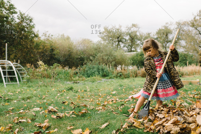 Young girl raking autumn leaves