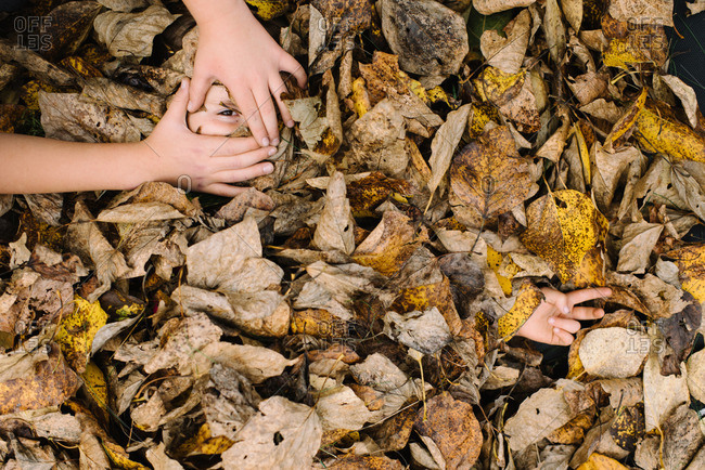 Child frames leaf-covered sibling's eye with hands
