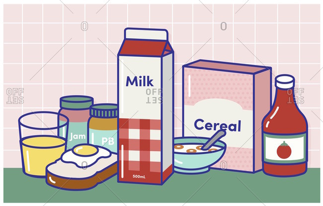 Breakfast foods on table