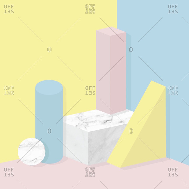 Geometric shapes in pastels