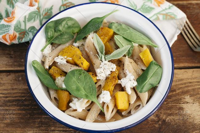 A pumpkin and pasta salad