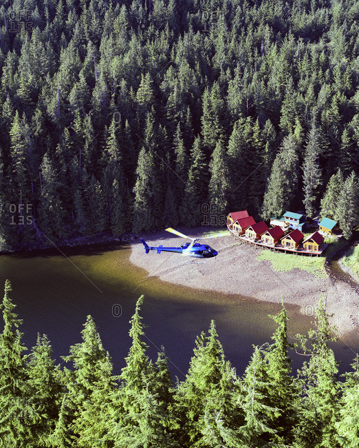British Columbia, Canada - December 10, 2007: A helicopter over wilderness resort