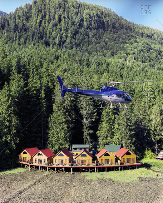 British Columbia, Canada - December 10, 2007: Helicopter over wilderness resort