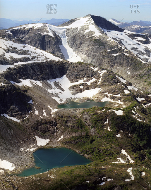 Arial view of two lakes between mountains