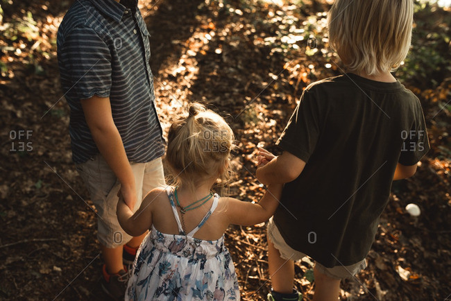 Three children holding hands in forest