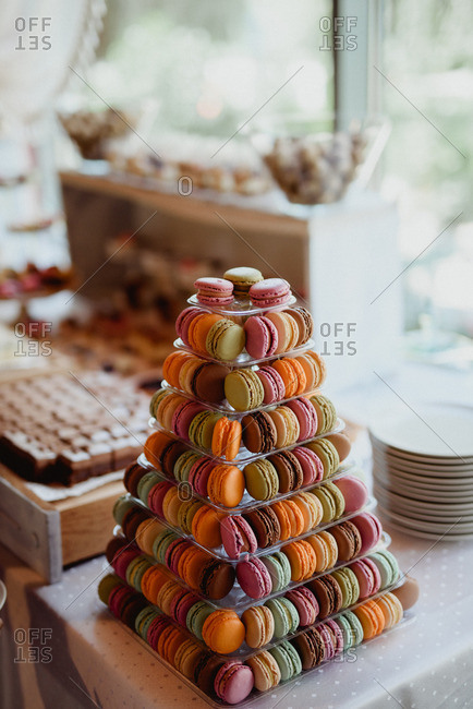 Pyramid of colorful macaroons at a wedding reception