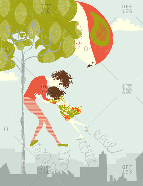 Illustration of parent and child walking on springs while a very large bird in a tree looks on