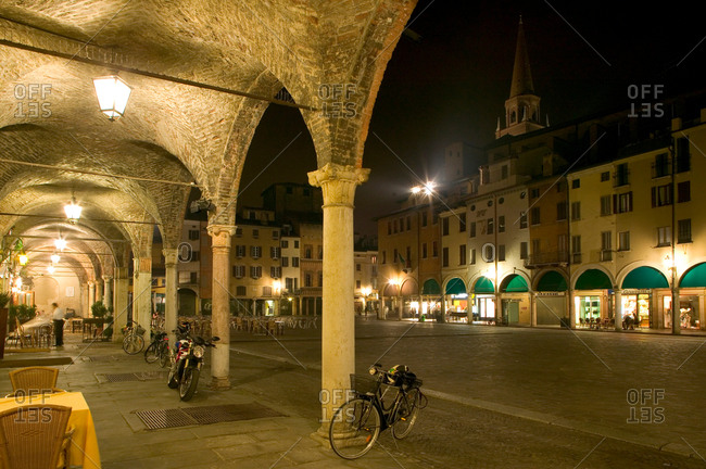 Lombardy, Italy - March 31, 2006: Mantua commune, illuminated at night, Lombardy, Italy