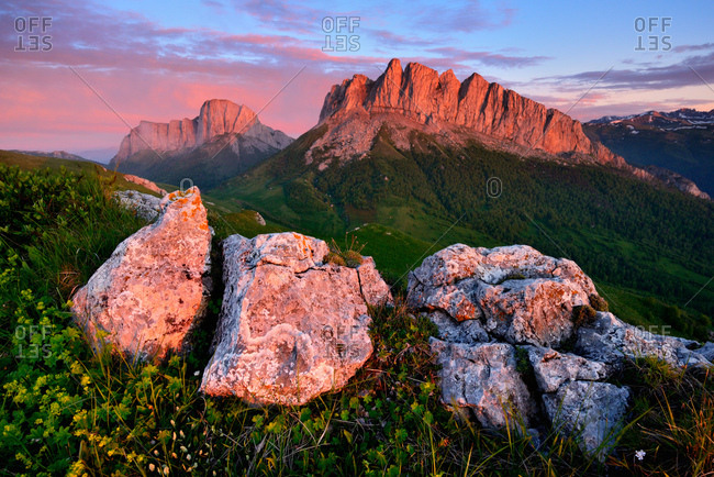 Dusk over Acheshboki (Devil's Gates) mountains in background, Bolshoy Thach (Big Thach) Nature Park, Caucasian Mountains, Republic of Adygea, Russia
