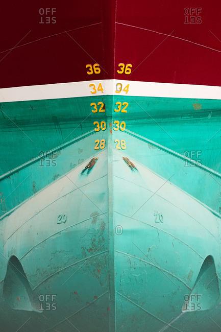 Detail of symmetrical ship hull in ship painters yard