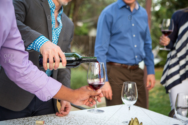 Male hands pouring red wine at garden party table