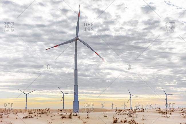 Wind turbines in desert landscape, Taiba, Ceara, Brazil