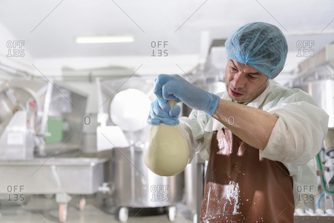 Worker hand making mozzarella ball in cheese factory