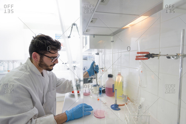Technician in food testing laboratory in food factory