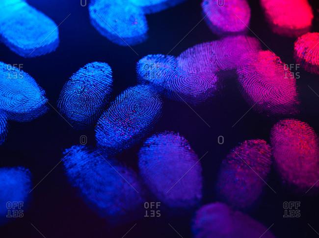 Identity, human finger prints shown up using light