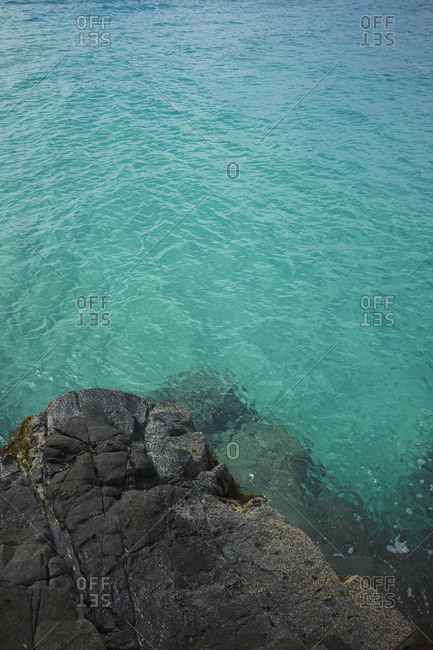 Rocky shore on a tropical beach