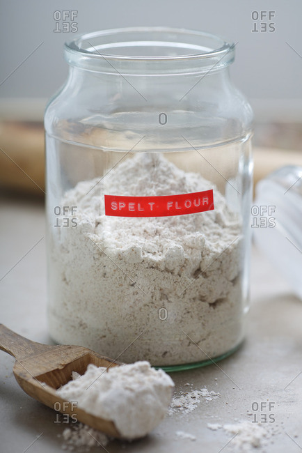 Labeled jar of spelt flour