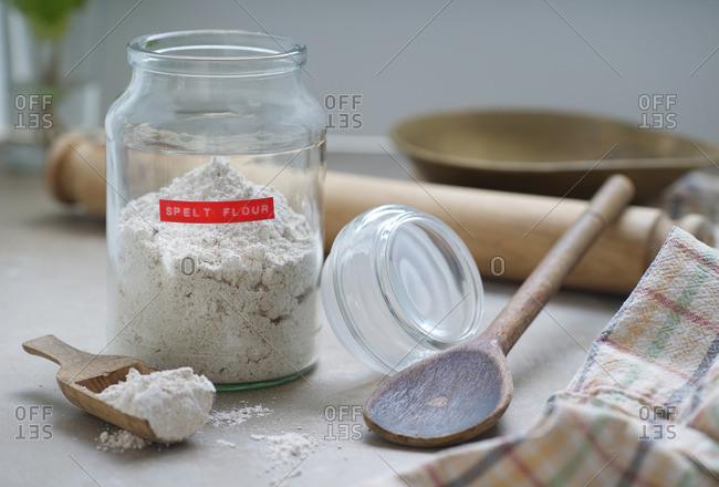 Spelt flour in a glass jar