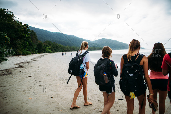 Diwan, Queensland, Australia - July 27, 2016: Travellers encounter the beautiful coast of Cape Tribulation on a cloudy day