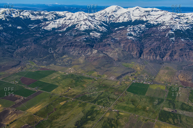 Aerial view of farmland and mountains, Cedarville, California, United States,