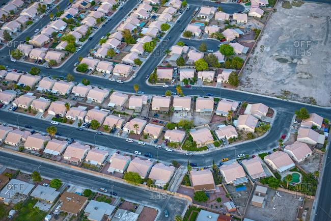 Aerial view of suburban houses, Las Vegas, Nevada, United States,