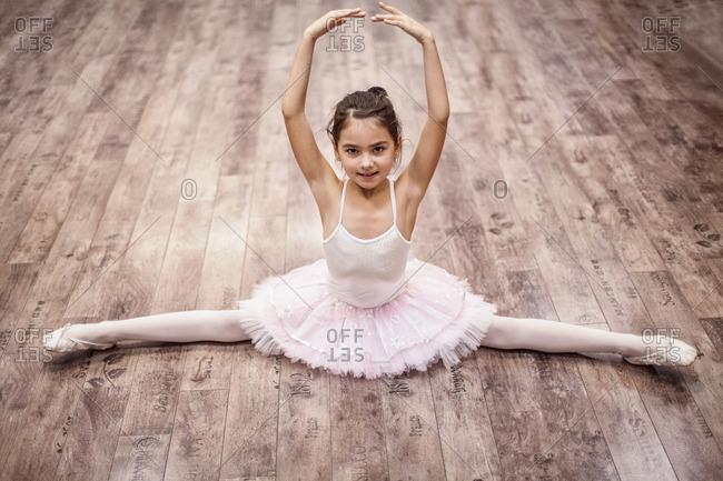 Ballet student in splits position