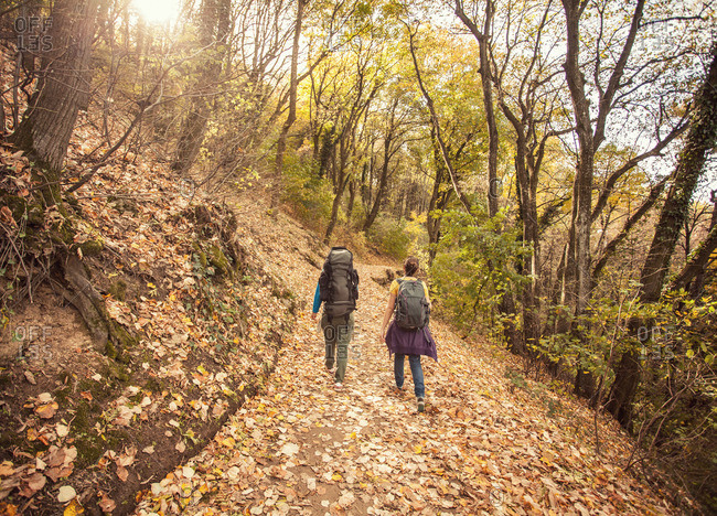 Backpackers in autumnal woods