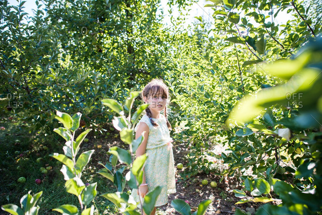 Portrait of a girl surrounded by trees
