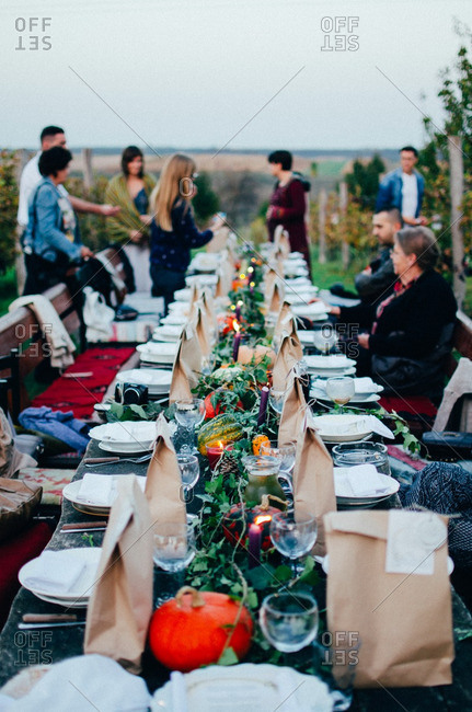 October 12, 2014: Outdoor dinner party in autumn