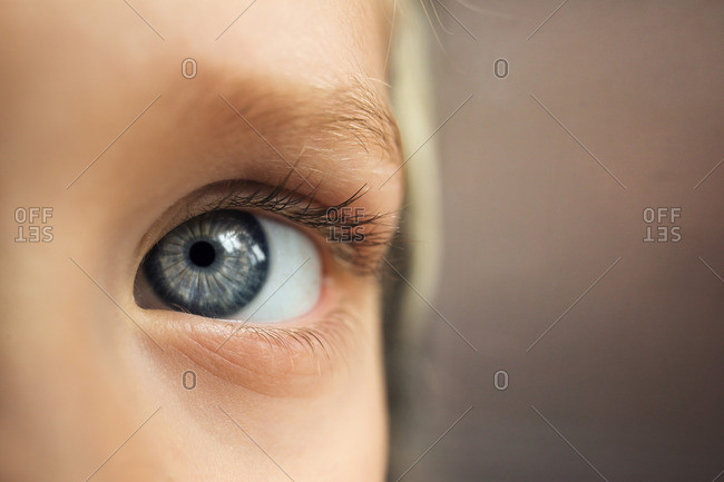 Close up of a blue eyed child